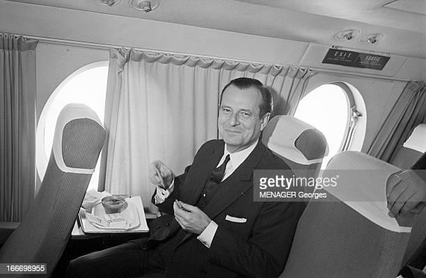 CloseUp Of Jean Lecanuet En novembre 1965 le sénateur Jean LECANUET en campagne pour les élections présidentielles de décembre 1965 Dans l'avion...
