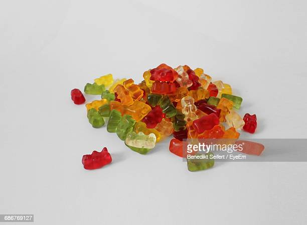 Close-Up Of Jelly Sweets Over White Background