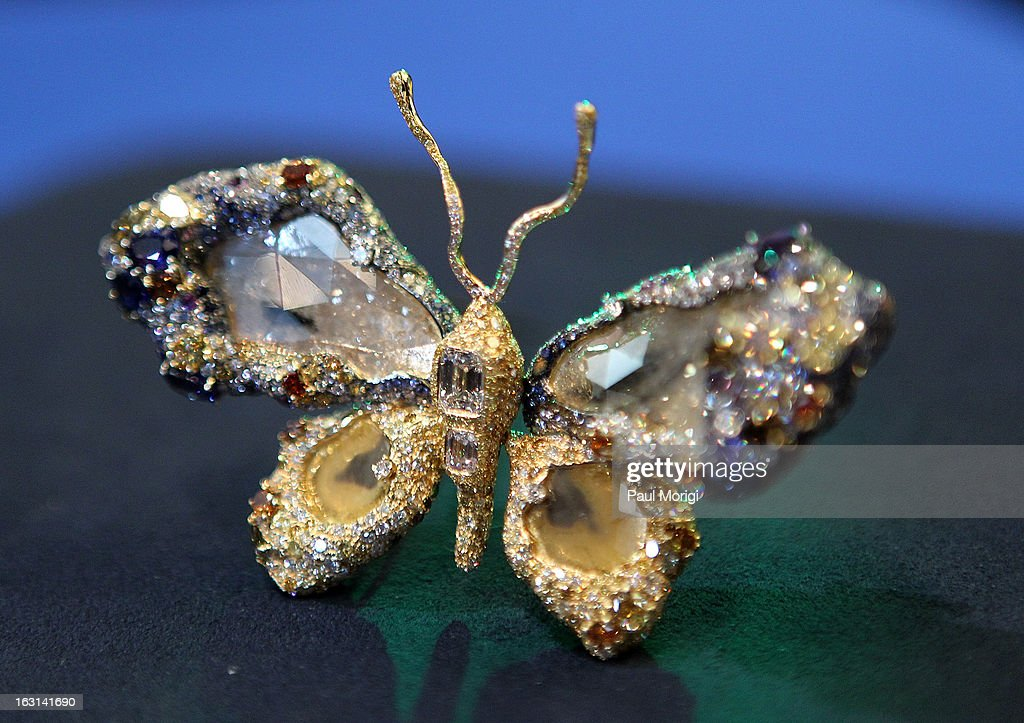 A close-up of jewelry artist Cindy Chao's Black Label Masterpiece Royal Butterfly Brooch to be accessioned into the Smithsonian's National Museum of Natural History on March 5, 2013 in Washington, DC.