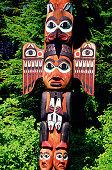 Close-up of Kadjuk Bird Totem Pole, Bight State Historical Park, Ketchikan, Alaska, USA