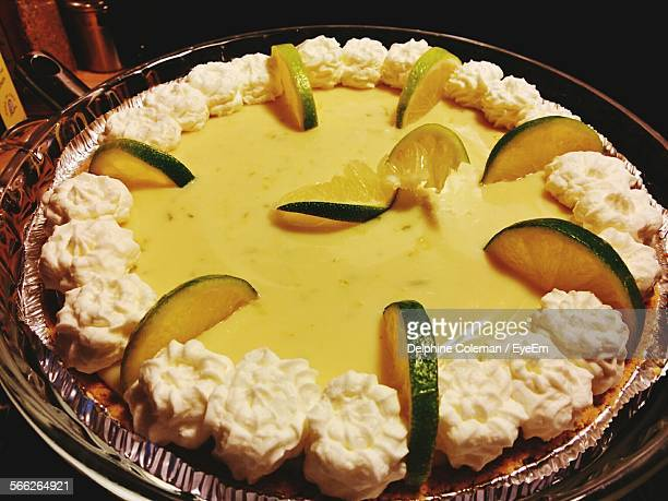 Close-Up Of Key Lime Pie On Table