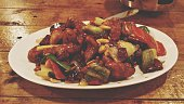 Close-Up Of Kung Pao Chicken Served In Plate
