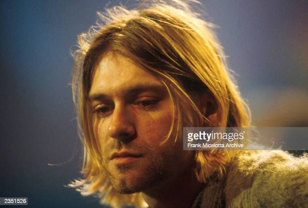 Closeup of Kurt Cobain performing with Nirvana on MTV Unplugged at Sony Studios in New York City November 18 1993