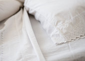 Close-up of lace bedclothes