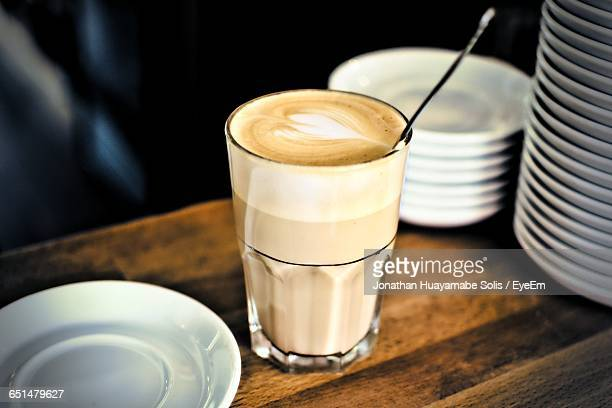 Close-Up Of Latte Macchiato On Table