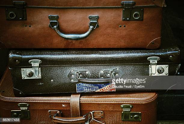 Close-Up Of Leather Suitcases