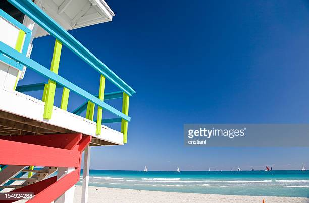 Close-up of lifeguard station on Miami Beach