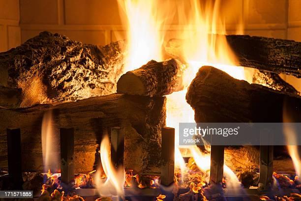 Gros plan des bûches en bois à brûler dans la cheminée à gaz