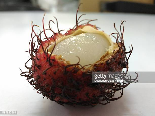 Close-Up Of Lychee On Table