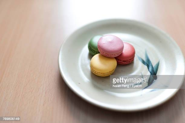 Close-Up Of Macaroons In Plate On Table