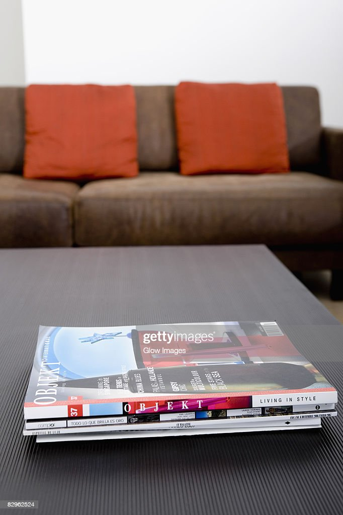 Close-up of magazines on a table
