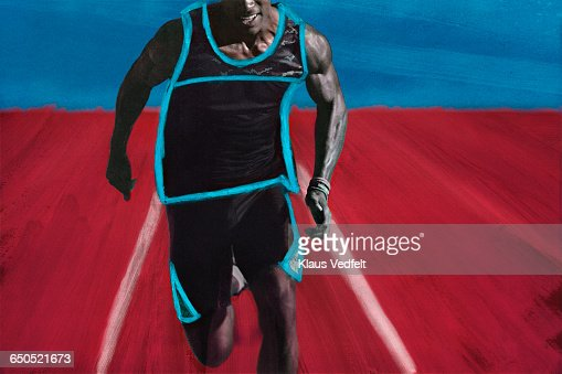 Close-up of male athlete sprinting