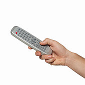 Close-up of male hand holding remote control