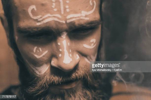 Close-Up Of Man With Face Paint