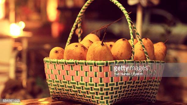 Close-Up Of Mangoes In Basket