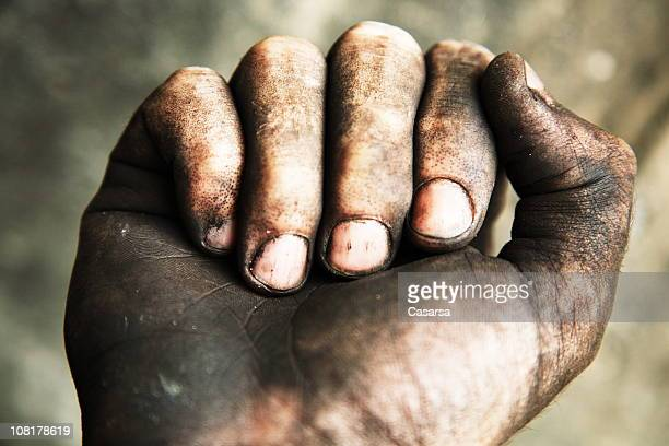 Close-up of Man's Dirty Hand