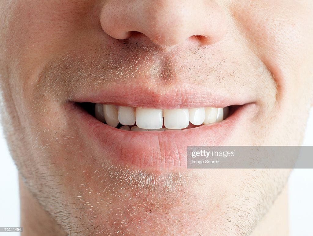 Close-up of man's mouth : Stock Photo