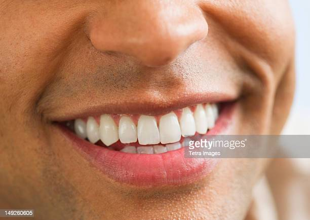Close-up of man's perfect teeth