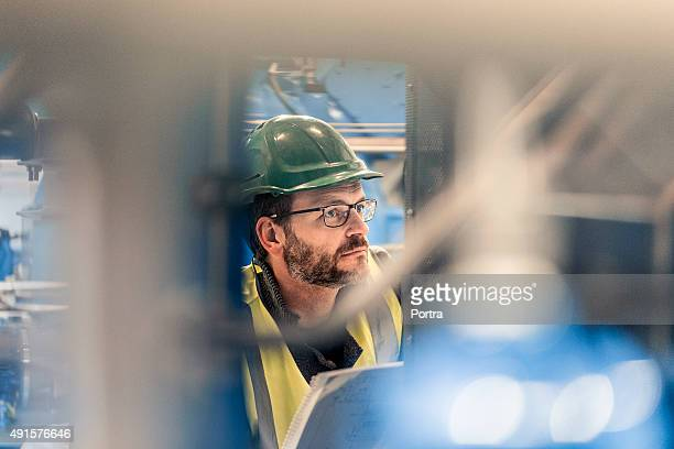 Close-up of manual worker at factory