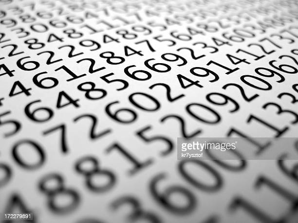 Closeup of many various numbers in black on white background