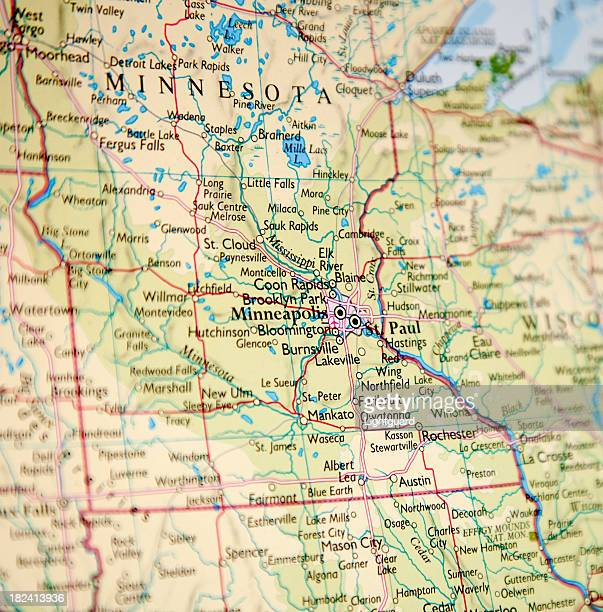 Closeup of map of Minnesota with blurred vignette