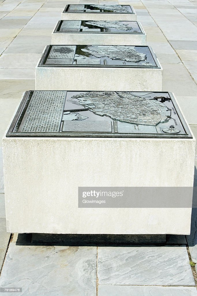 Close-up of maps on stone blocks, Waterfront Park, Charleston, South Carolina, USA : Stock Photo