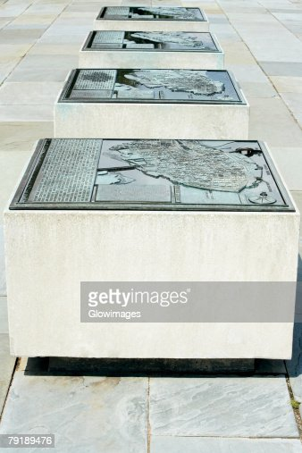 Close-up of maps on stone blocks, Waterfront Park, Charleston, South Carolina, USA : Stock Photo