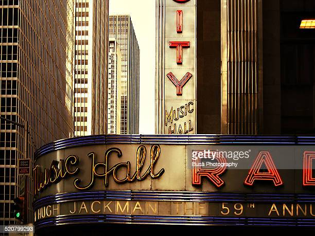 Closeup of marquee sign of Radio City Music Hall