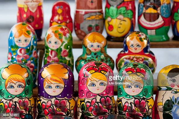 Closeup of matryoshka dolls on June 16 in Yaroslavl Russia Matryoshka doll refers to a set of wooden dolls of decreasing size placed one inside the...