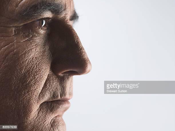 close-up of mature man's face