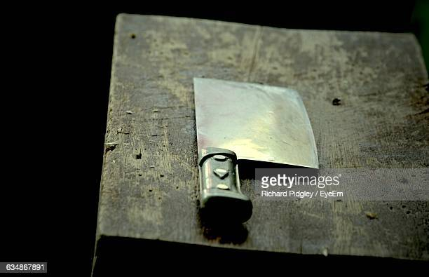 Close-Up Of Meat Cleaver On Table