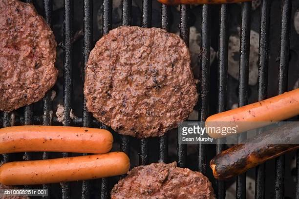 Close-up of meat on grill