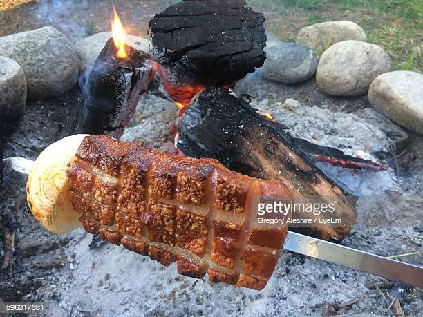 Close-Up Of Meat With Bonfire In Background