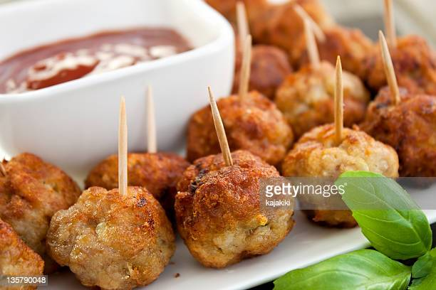 Closeup of meatball appetizers