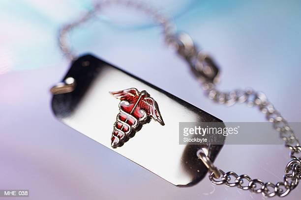 Close-up of medical alert bracelet