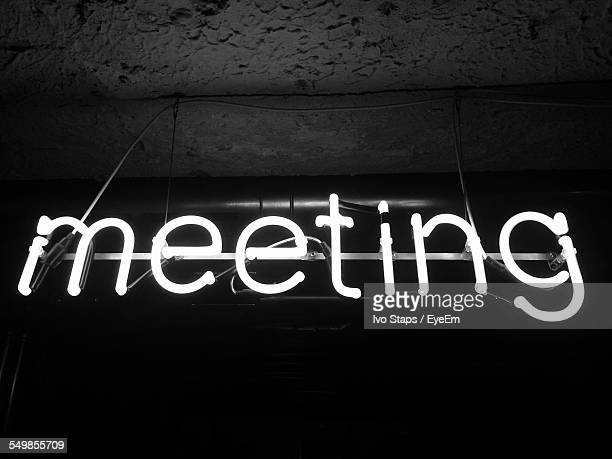 Close-Up Of Meeting In Neon Text