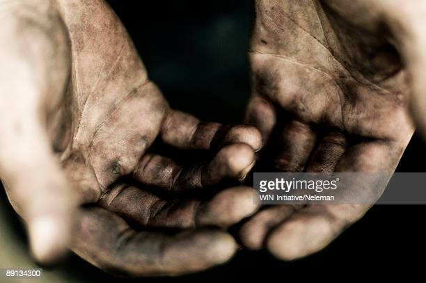 Close-up of messy hands of a locksmith