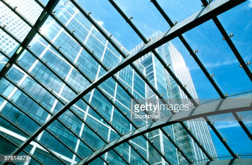 Close-up of metal grid work on a glass ceiling : Stockfoto