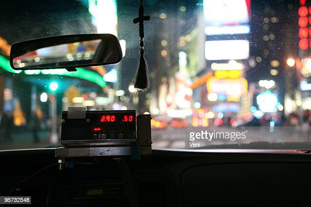 Close-up of meter inside a New York City taxi