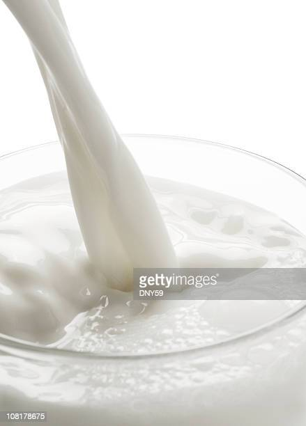 Close-up of Milk Pouring Into Glass, On White Background
