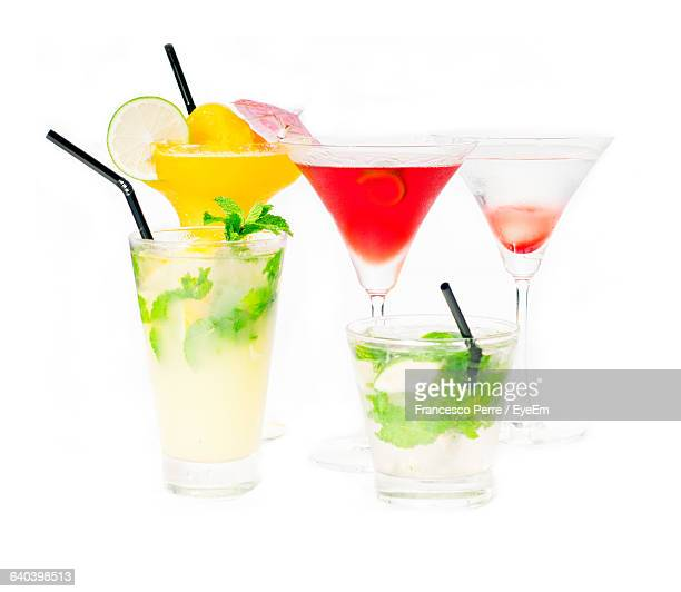 Close-Up Of Mocktails On White Background
