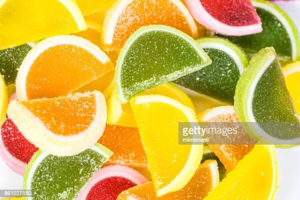Close-Up Of Multi Colored Candies, Rainbow Jello , homemade dessert.