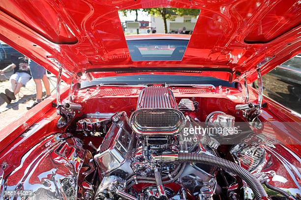 Close-up of muscle car engine compartment