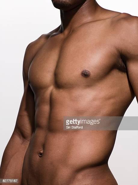 クローズアップ筋肉の男性の胴体の