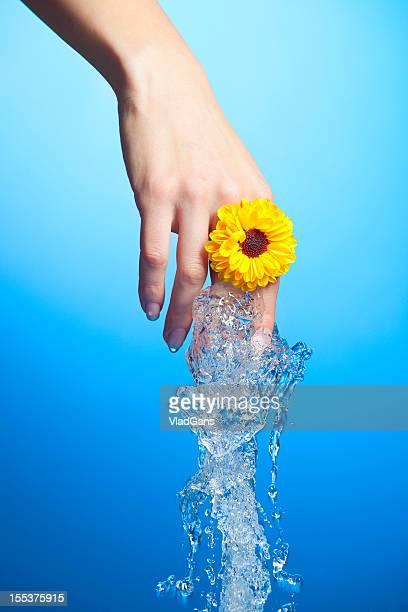 Primo piano della mano buona bagnato