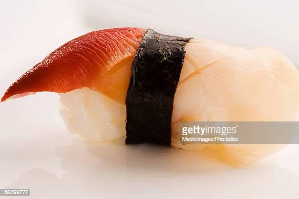 Close-up of Nigiri sushi with Hokkigai