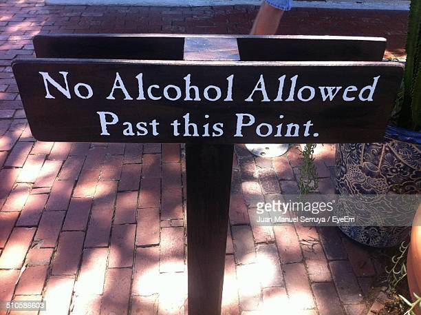 Close-up of no alcohol sign