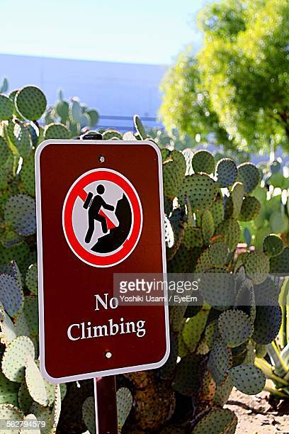 Close-Up Of No Climbing Sign By Cactus Plants