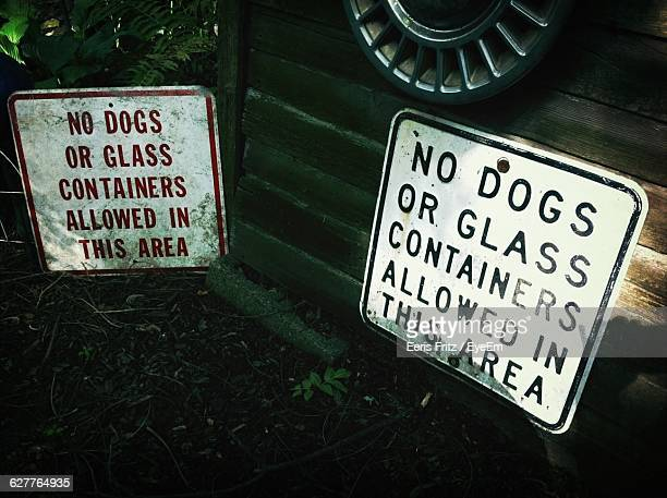 Close-Up Of No Dogs Allowed Sign
