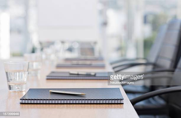 Closeup of notepads kept on table